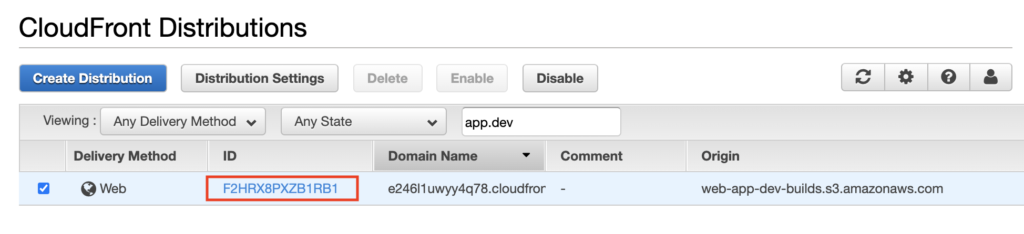 Get CloudFront Distribution ID in AWS > CloudFront