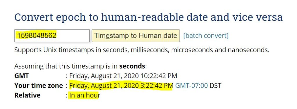 Epoch time converted to human-readable time