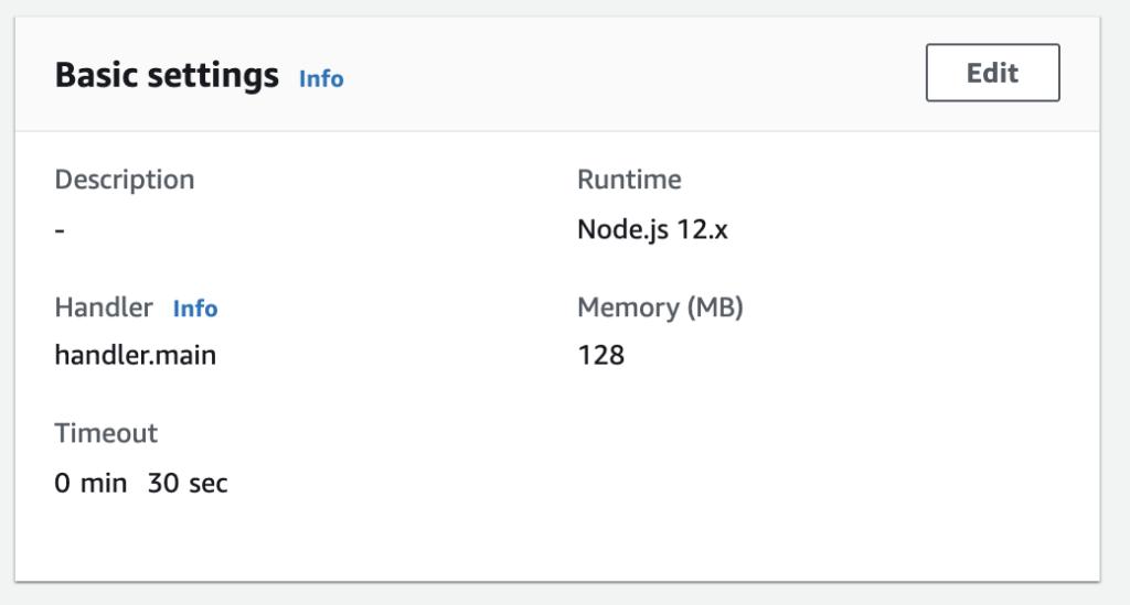 Invalidate-cache lambda had these basic settings